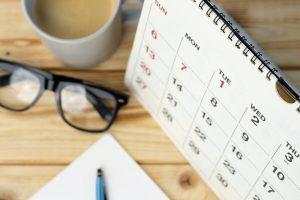 Calendar page close up on office desk