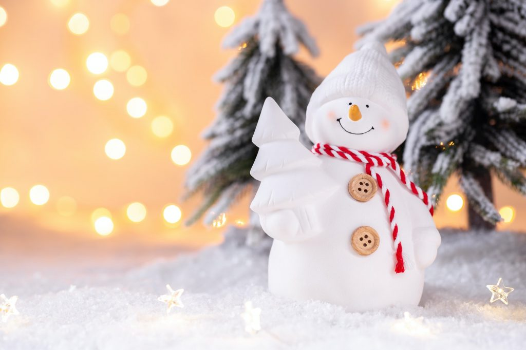 Christmas card with snow man